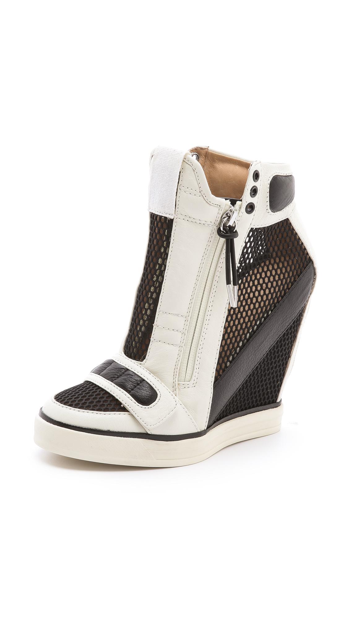 Lyst - L.A.M.B. Pamela Mesh Wedge Sneakers in Black