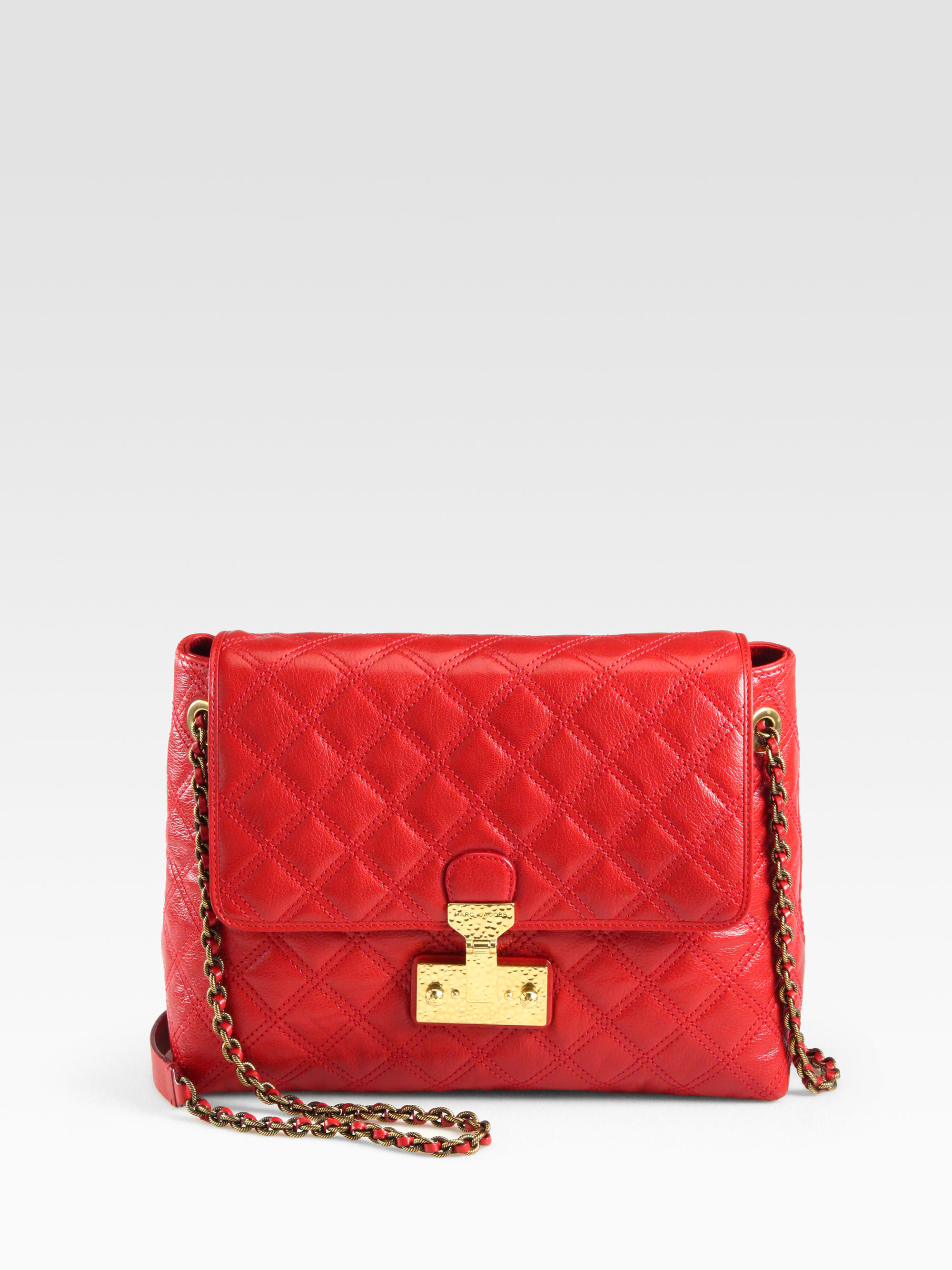 Marc jacobs Baroque Xl Single Quilted Shoulder Bag in Red | Lyst