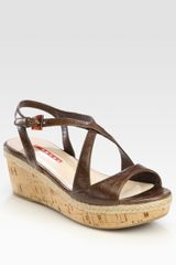 Prada Leather Cork Wedge Sandals - Lyst