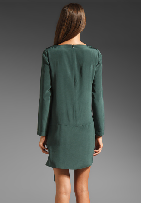 Tibi solid silk shirt dress in dark emerald in green lyst Emerald green mens dress shirt