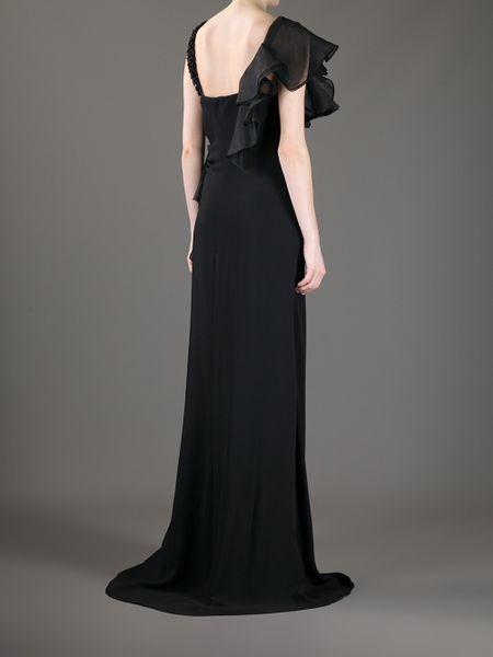 Valentino Ruffled Evening Dress In Black Lyst