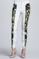 7 For All Mankind Skinny Pieced White Jeans - Lyst