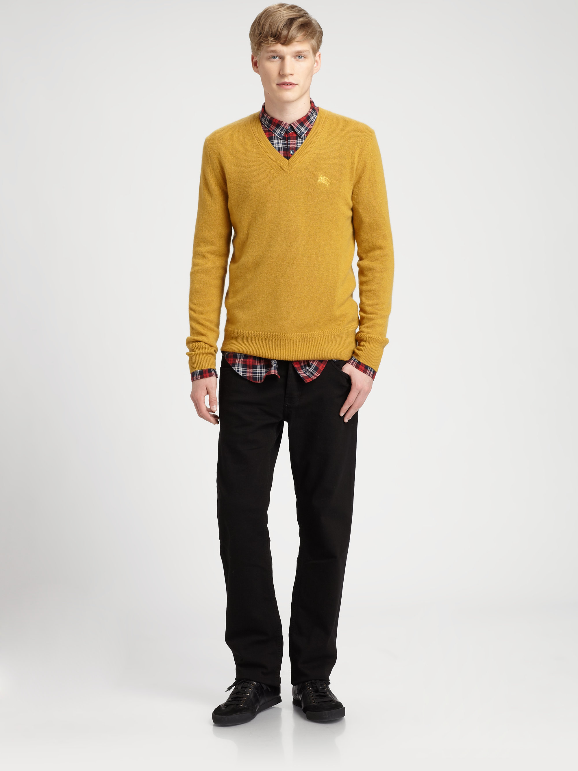 Burberry brit Cashmere Sweater in Yellow for Men | Lyst