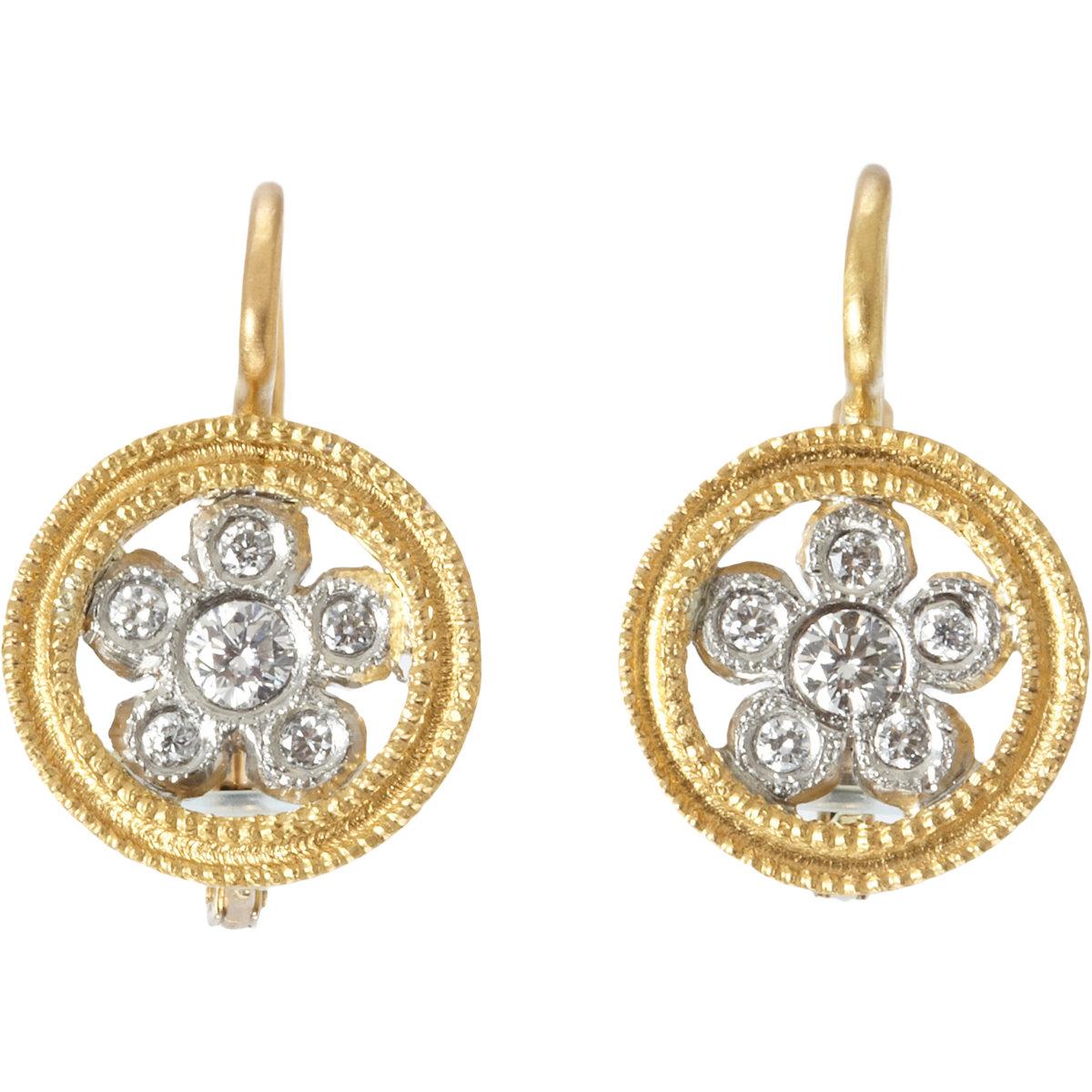 cathy waterman lacy flower earrings in gold lyst
