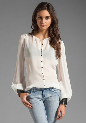 Elizabeth And James Mikayla Blouse in Ivory Black - Lyst