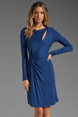 Halston Heritage Long Sleeve Slit and Twist Front Dress in Indigo - Lyst