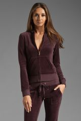 Juicy Couture Velour Original Zip Hoodie in Dark Cabernet - Lyst