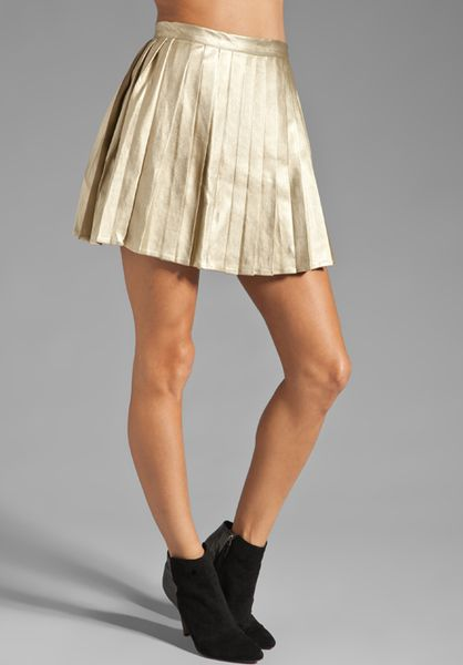 minkpink romy and high waisted pleated skirt in