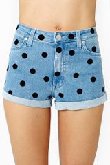 Nasty Gal Dotty Denim Shorts - Lyst