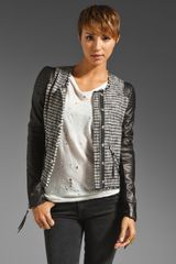 Rebecca Taylor Tweed and Leather Jacket in Black - Lyst