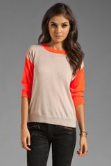 Rebecca Taylor Colorblock Sweater in Nude Combo - Lyst