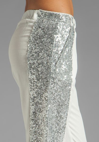 Sass Amp Bide Sequin Stripe Pant In Creme Silver In White Lyst