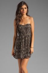 Twelfth Street by Cynthia Vincent Verona Strapless Party Dress in Brownanimal Print - Lyst