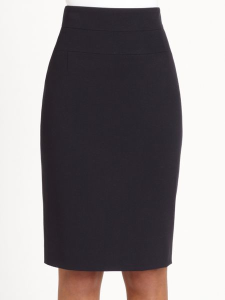 akris punto stretch knit pencil skirt in blue navy lyst