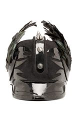 Albertus Swanepoel Studded Helmet with Feathers