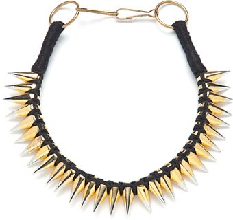 A.L.C. Braided Thread Necklace with Twotone Spikes - Lyst