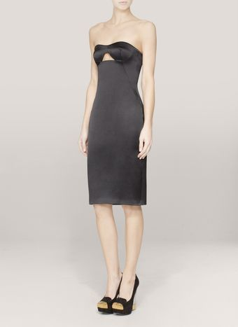 Alexander McQueen Cutout Satin Bustier Dress - Lyst