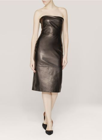 Alexander McQueen Leather Strapless Dress - Lyst