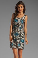 Anna Sui Hydrangea Branch Print Georgette and Lace Dress  - Lyst