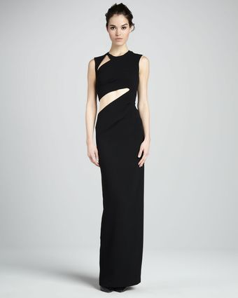 BCBGMAXAZRIA Highneck Evening Gown with Cutouts - Lyst