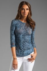 BCBGMAXAZRIA Long Sleeve Top in Medium Parisian Blue Combo - Lyst