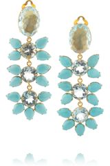 Bounkit Goldplated Turquoise and Quartz Clip Earrings - Lyst