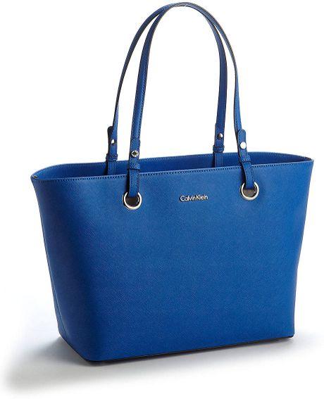 Calvin Klein Leather Tote Bag in Blue (cornflower)