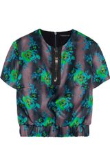 Christopher Kane Floralprint Silkorganza Top - Lyst