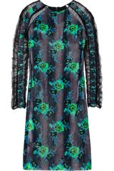 Christopher Kane Floral print Velvet Dress - Lyst