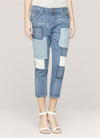 Current/Elliott Patchwork Cropped Jeans - Lyst