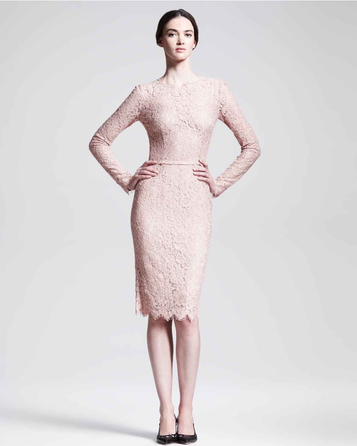 Dolce gabbana longsleeve belted lace dress in pink lyst for Long sleeve blush wedding dress