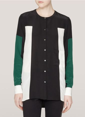 Elizabeth And James Ivy Colourblock Silk Shirt - Lyst