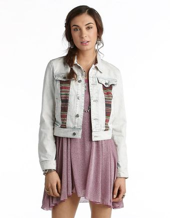 Free People Denim Jacket with Aztec Sweater Insets - Lyst