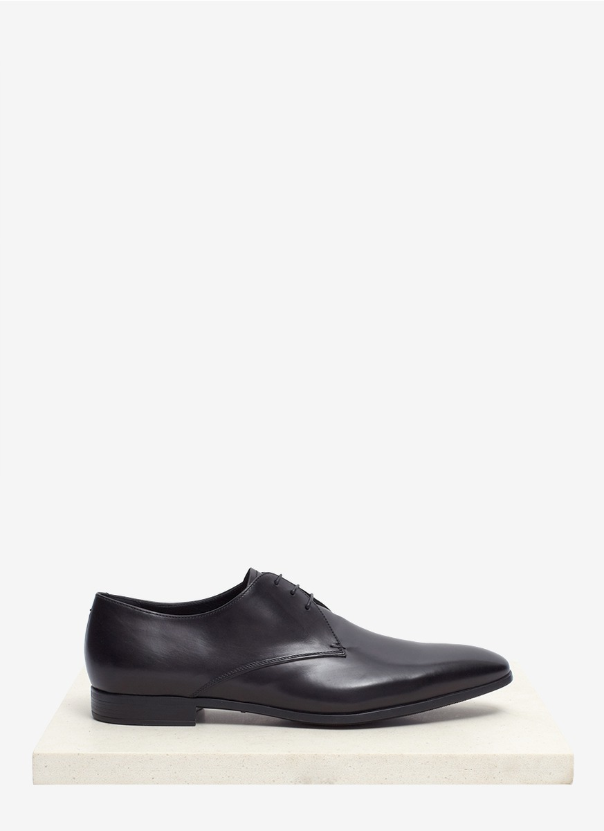 Giorgio Armani Leather Derby Shoes in Black for Men | Lyst