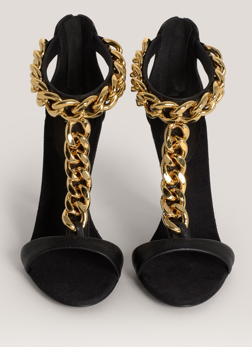 Giuseppe zanotti Chain-detail High-heel Sandals in Black | Lyst