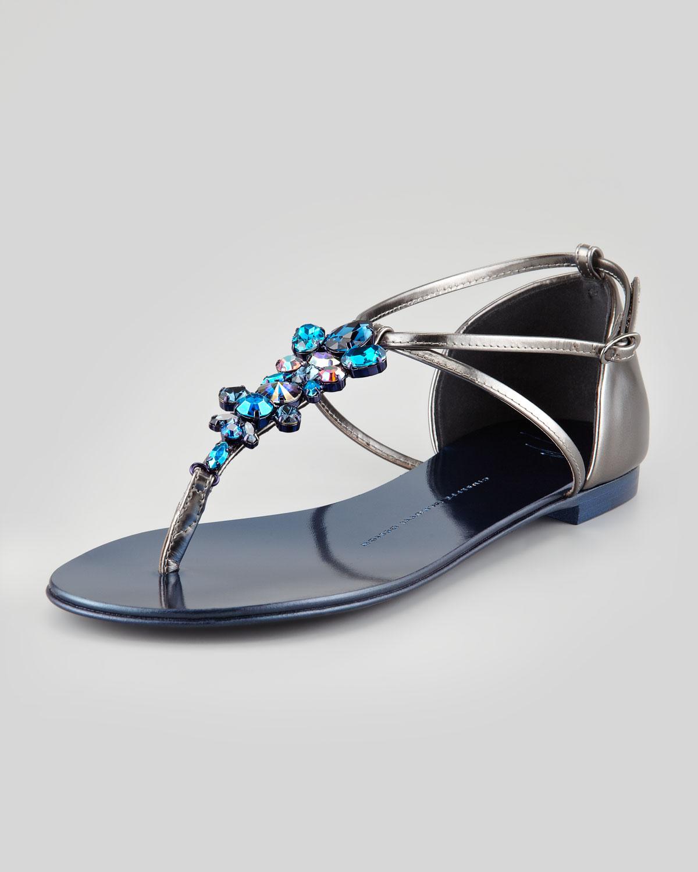 Giuseppe Zanotti Jeweled Flat Thong Sandal Blue In Silver (BLUE) | Lyst