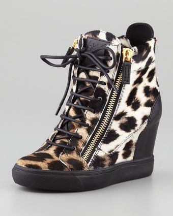 Giuseppe Zanotti Leopardprint Calf Hair Wedge Sneaker - Lyst