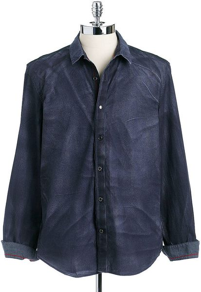 Guess Slim Fit Cotton Button Down Shirt In Blue For Men