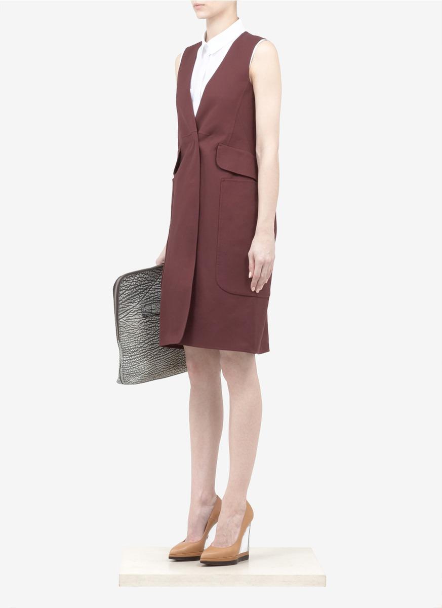 Jil sander Cotton Twill Sleeveless Coat Dress in Purple | Lyst
