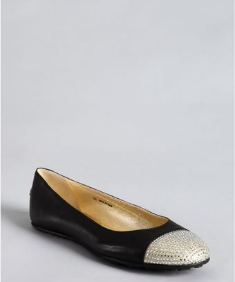 Jimmy Choo Black and Silver Leather Rhinestone Cap Toe Ballet Flats - Lyst