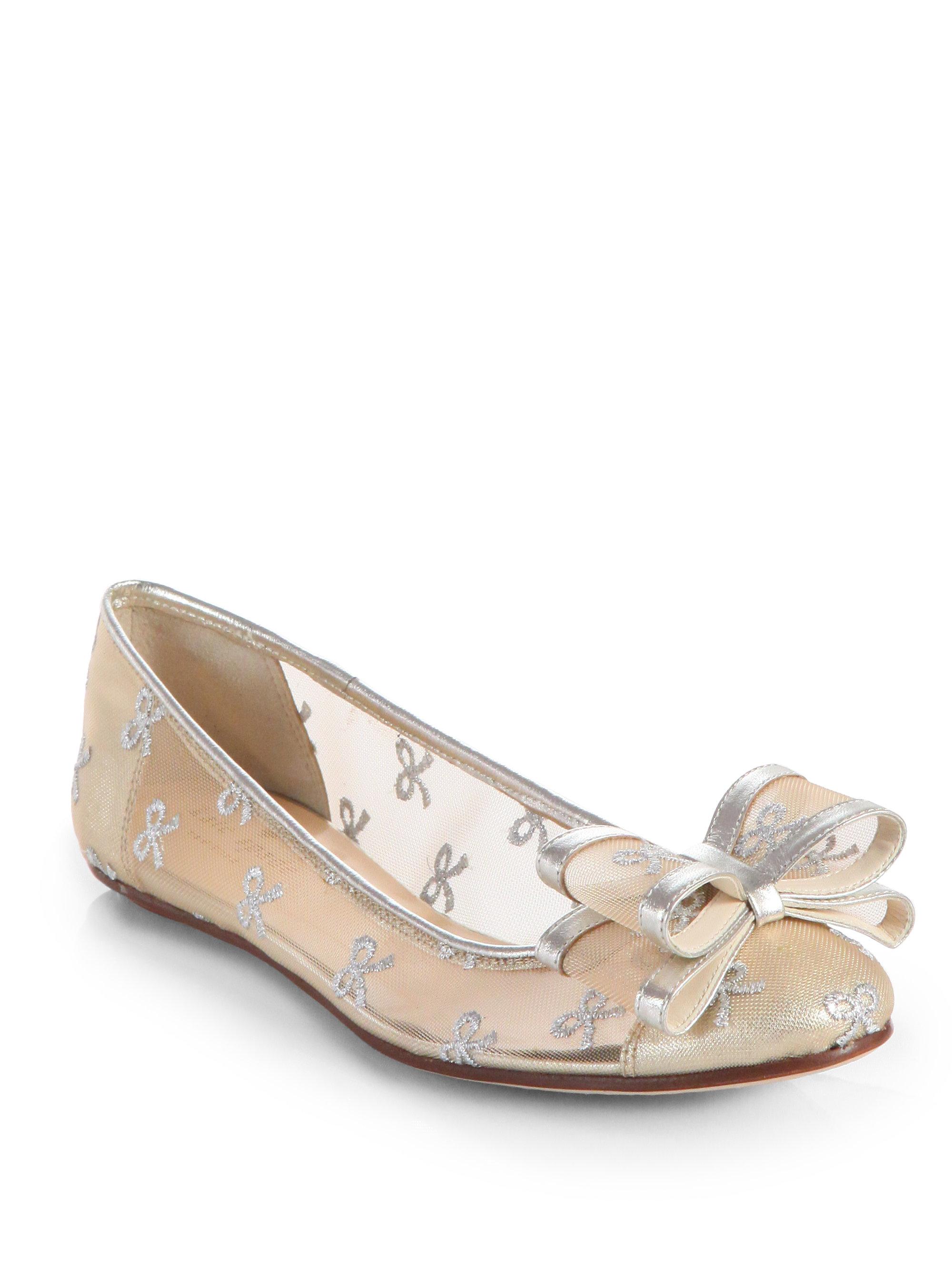 a307de843 Kate Spade Bernice Mesh Leather Bow Ballet Flats in Metallic - Lyst