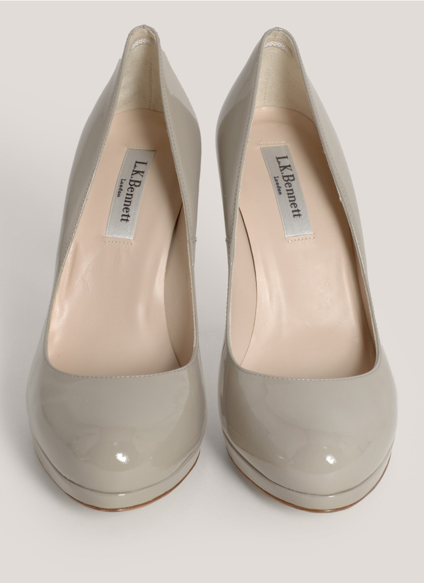 L K Bennett Sledge Patent Leather Pumps In Gray Lyst
