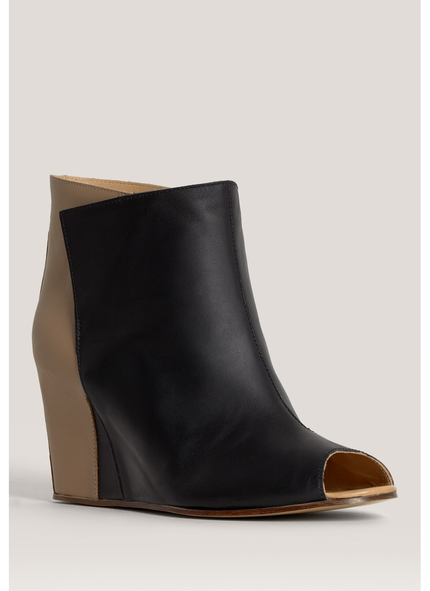mm6 by maison martin margiela peep toe wedge boots lyst