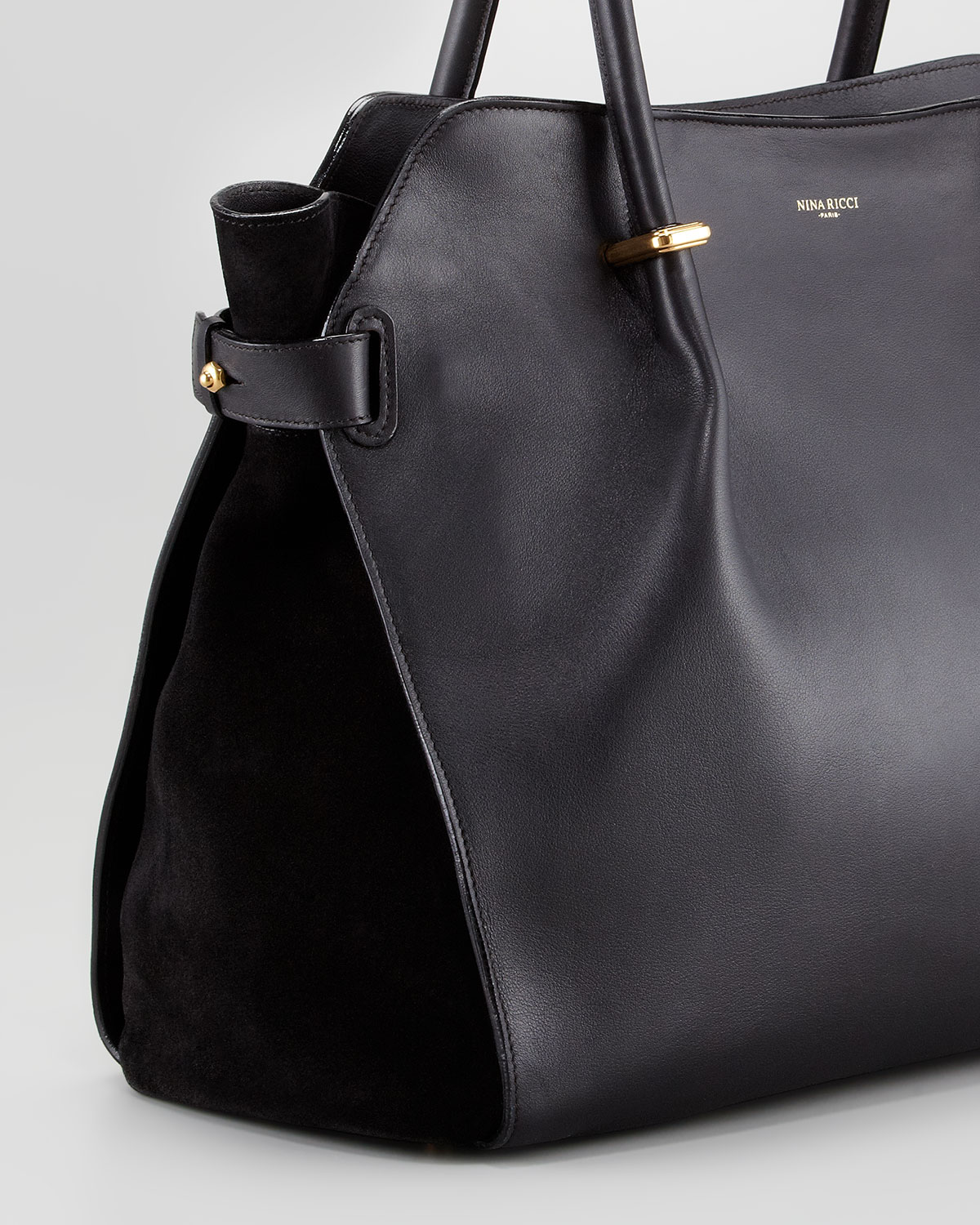 Nina ricci Marche Large Leather Tote Bag Black in Black | Lyst
