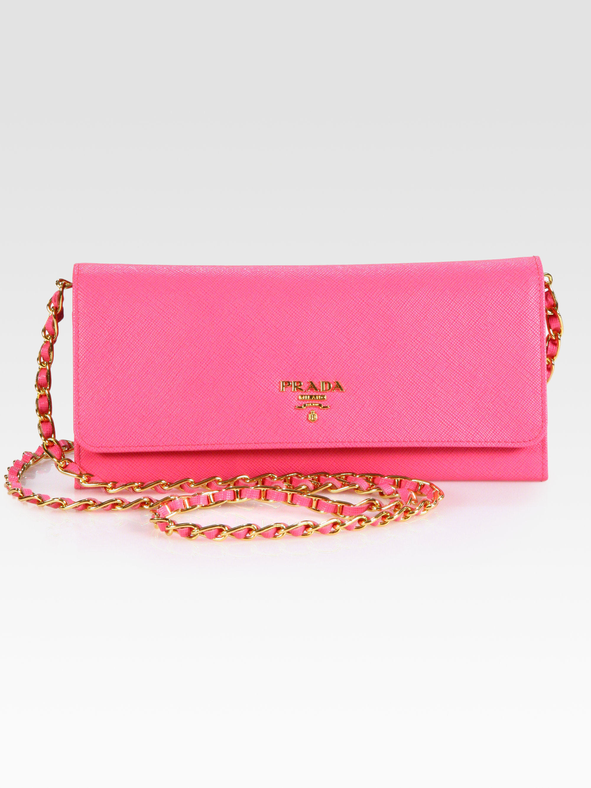 949f0d420ab8 ... get lyst prada saffiano metal oro wallet with chain in pink f5565 a5fb6