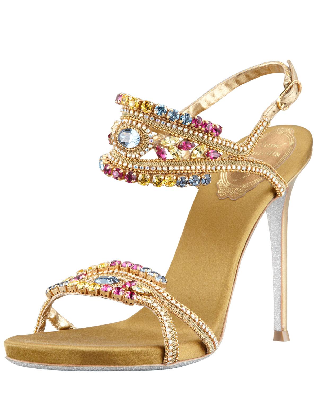 Rene Caovilla Crystalembellished Ankleband Sandal In