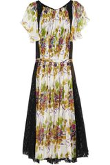 Roberto Cavalli Printed Silk and Chiffon Dress - Lyst