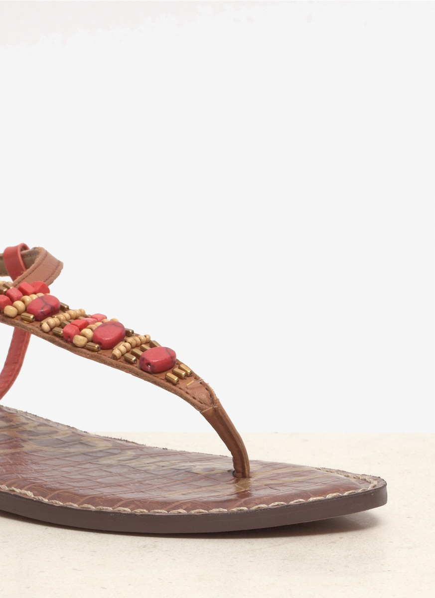Lyst Sam Edelman Gale Beaded Leather Sandals In Red