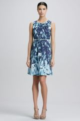 T Tahari Tyra Printed Fit and Flare Dress - Lyst