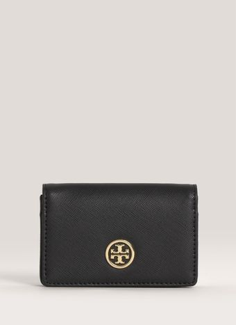 Tory Burch Robinson Foldover Leather Card Case - Lyst